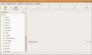 Screenshot of Anjuta, initial screen (Localisation: Greek)