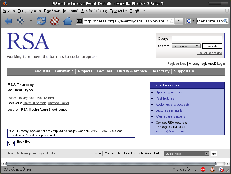 Probably through SQL injection, this page of thersa.org.uk links to a javascript file from some server in China