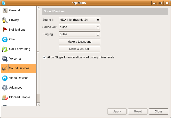 Skype sound device settings
